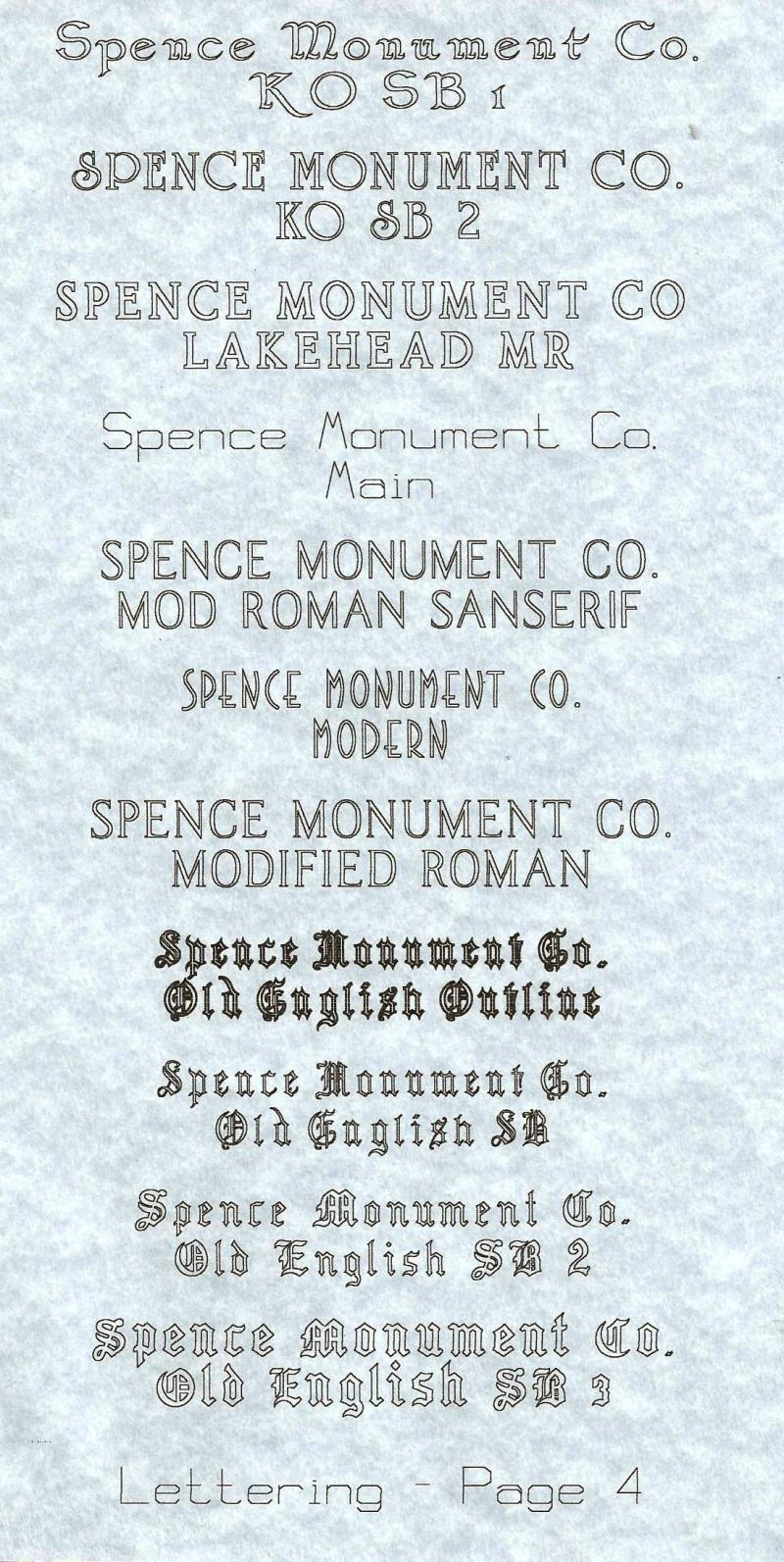 Spence Monument Company Lettering Styles
